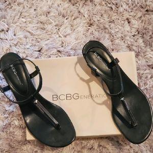 BCBGeneration Black Wedge Heel Sandals, Size 10M